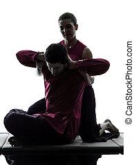 thailändisch, massage, silhouette