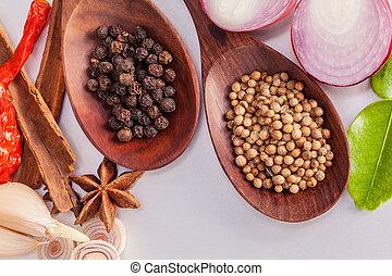 thailändsk mat, matlagning, ingredients., -, krydda, tast