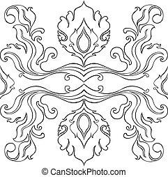 Thail art line flower pattern illustrate