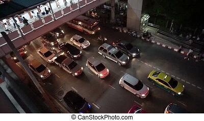 thailan, bangkok, soir, trafic