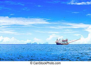 thailan, barco, andaman, pesca, mar