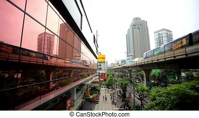 THAILAND 3 august 2015. Sky train in Bangkok with business...