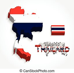 Thailand 3D ( map and flag ) ( transportation and tourism concept )