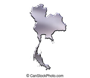 Thailand 3D Silver Map - Thailand 3d silver map isolated in...