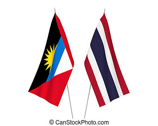Thailand and Antigua and Barbuda flags - National fabric ...