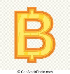 Thailand baht icon. Cartoon illustration of baht vector icon for web design