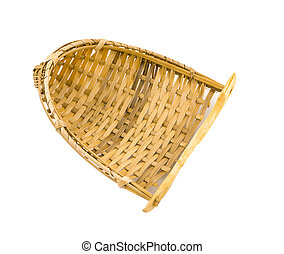 Thailand bamboo fishing trap made from bamboo wood on white background
