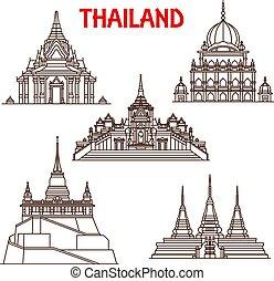 Thailand Bangkok temples vector line icons
