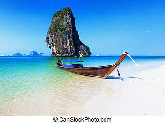 Thailand beach. Beautiful tropical landscape with boat