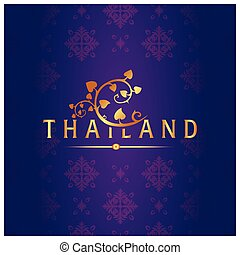 Thailand Bodhi Leaves Thai design Purple Background Vector Image
