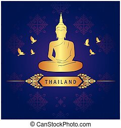 Thailand Buddha Statue Bird Thai design Purple Background Vector Image