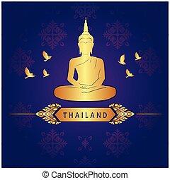 Thailand Buddha Statue Bird Thai design Purple Background...
