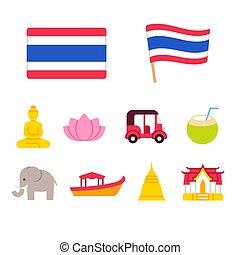 Thailand cartoon icons set