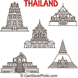 Thailand Chiang Mai, Ayutthaya temples line icons