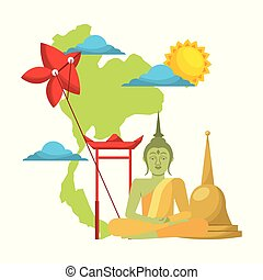 thailand concept festival buddha map kite traditional