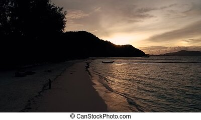 Thailand Coral Island Drone Shot beautiful sunset on the island