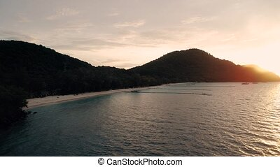 Thailand Coral Island Drone Shot beautiful sunset on the...