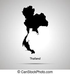 Thailand country map, simple black silhouette on gray