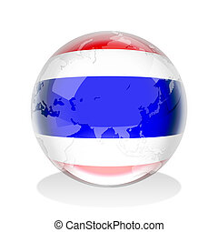Crystal sphere of Thailand flag with world map