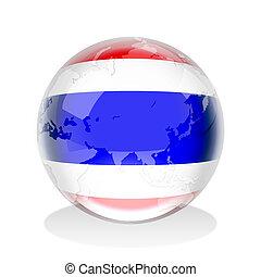 Thailand Crystal Sphere - Crystal sphere of Thailand flag ...