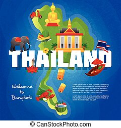 Thailand Cultural Symbols Flat Map Poster