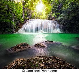 thailand, draußen, photographie, von, wasserfall, in, regen, dschungel, forest.