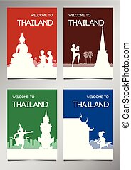 Thailand famous landmark and symbol in silhouette style with...