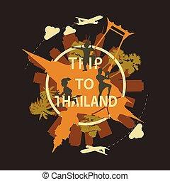 Thailand famous landmark silhouette overlay style around text, vintage design