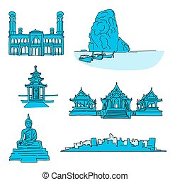 Thailand famous landmarks. Hand-drawn vector illustration....