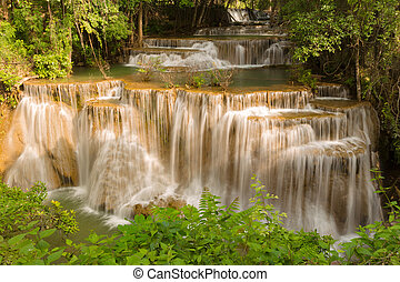 Thailand famous multiple layer waterfall, natural landscape...