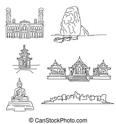 Thailand famous outline landmarks. Hand-drawn vector...