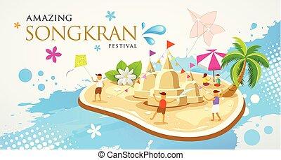 Thailand Festival Songkran Sand pagoda and kite