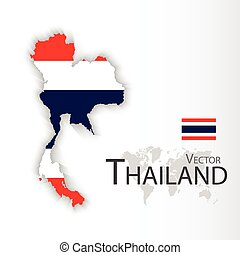Thailand ( flag and map )( Transportation and tourism concept ), thailand is one of AEC ( ASEAN Economic Community )