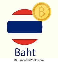 Thailand flag and Thai Baht golden coin. Baht exchange money...