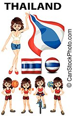 Thailand flag and woman athlete illustration