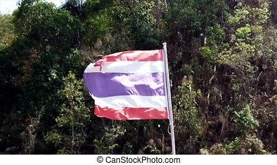 Thailand Flag Blows in a Strong Wind.
