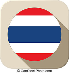 Thailand Flag Button Icon Modern
