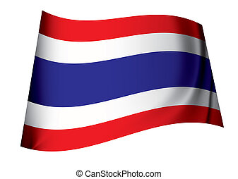 Flag of thailand icon symbol fluttering in the breeze with folds