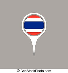 Thailand flag location map icon , Vector illustration.
