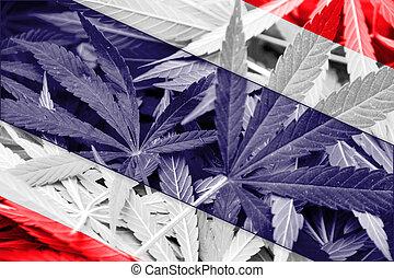 Thailand Flag on cannabis background. Drug policy. ...