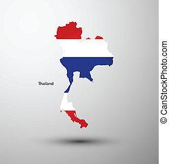 Thailand flag on map