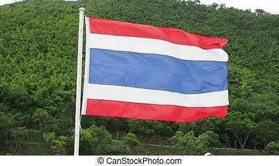 Thailand flag on the mountain background.