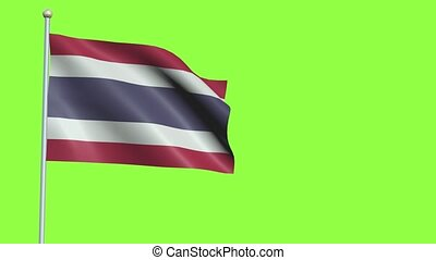 Thailand Flag in 3D render with green screen background in Slow Motion