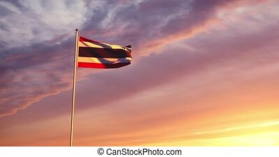 Thailand flag waving represents the kingdom of Siam and Thai nationalism. A celebration of nationality democracy or politics - 4k