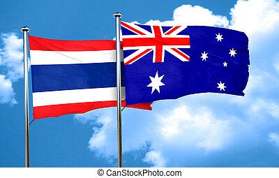 Thailand flag with Australia flag, 3D rendering