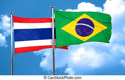 Thailand flag with Brazil flag, 3D rendering