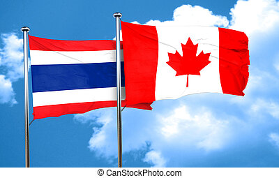 Thailand flag with Canada flag, 3D rendering