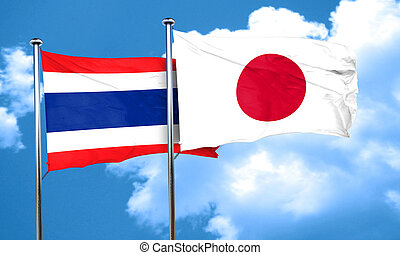 Thailand flag with Japan flag, 3D rendering