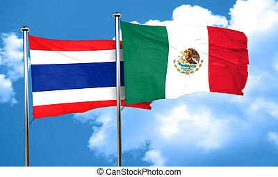 Thailand flag with Mexico flag, 3D rendering