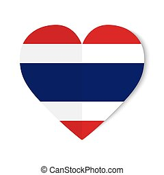 Thailand flag with origami style on heart background.